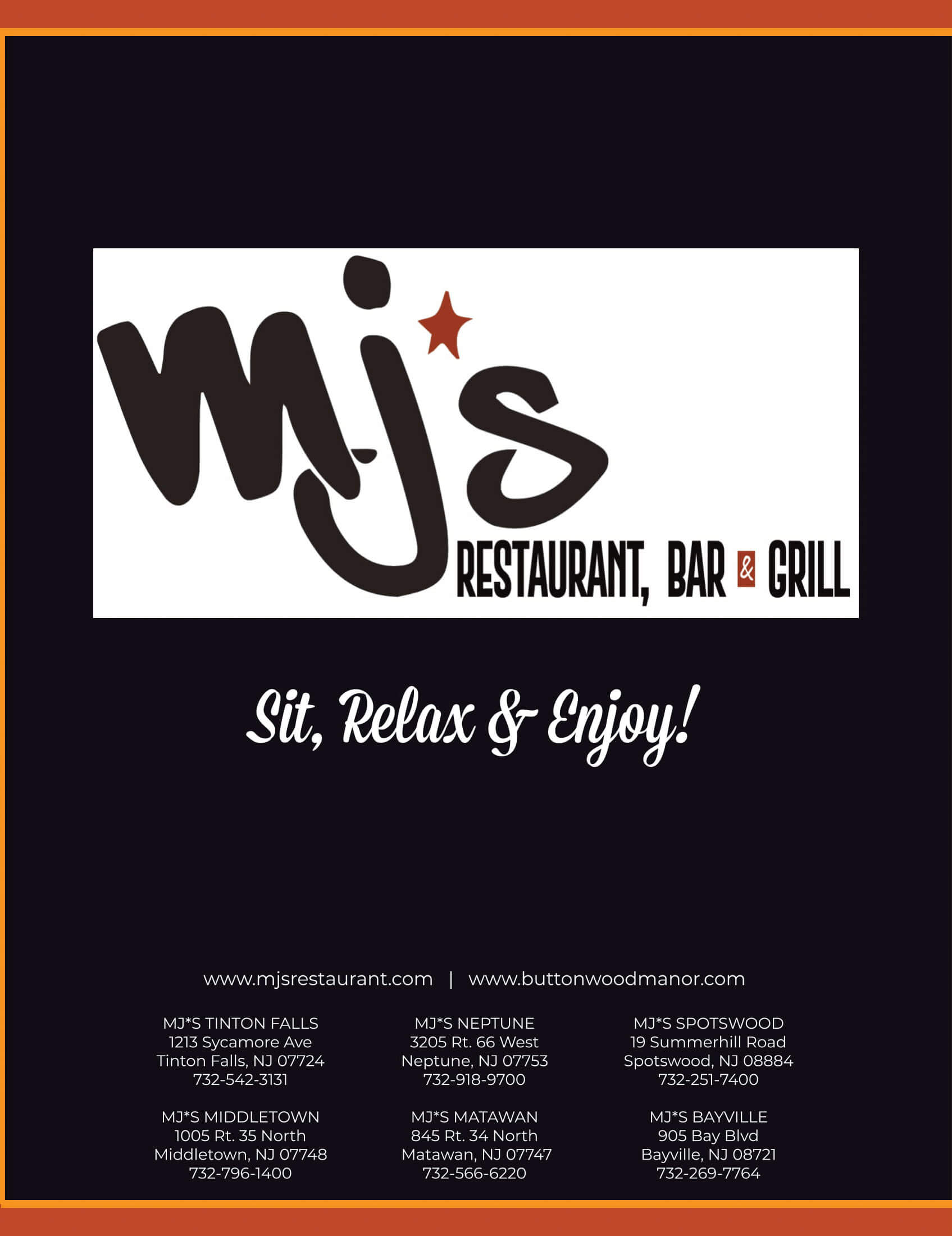 Menu Mj S Restaurant